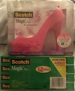 New Pink Scotch Magic Tape Dispenser With 12 Rolls Of 3 4 X 1000 inches Of Tape