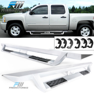 Fits 07 19 Silverado Sierra Crew Cab V1 Running Board Silver Side Step Nurf Bar