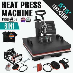 6in1 Heat Press Transfer Machine T shirt 15 x15 Combo Mug Plate Multifunctional