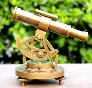 Antique Solid Brass Alidate Compass With Telescope By Antique Warehouse India