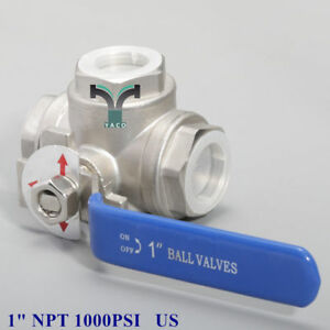 3 Way T Port Ball Valve 1 Inch Npt 1000psi Stainless Steel
