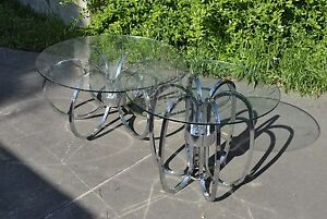 Mid Century Modern Chrome Ring Swirl Coffee And Side Table Milo Baughman Style