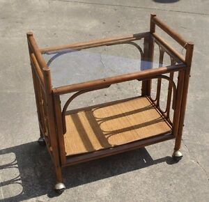 Vintage Mid Century Modern Rattan Wooden Bar Cart Side Table On Wheels