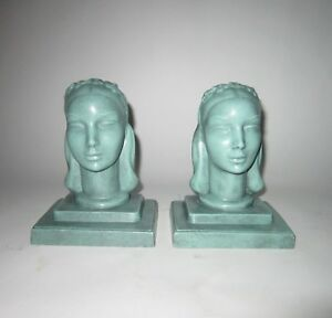 1930 Antique Art Deco Nuart Frankart Maiden Bookends