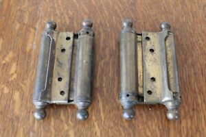 Pair Of Antique Large 5 3 4 Brass Spring Double Action Saloon Door Hinge
