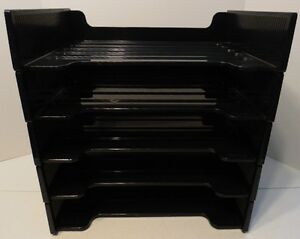 5 Stackable Extra Large Rubbermaid Black Plastic File Trays In And Out Boxes