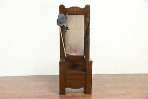 Oak Antique Hall Stand Or Dressing Room Bench Mirror Hooks 30230