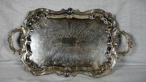 Vintage Birmingham Silver Co B S C Silver Plated Ornate Footed Butler S Tray