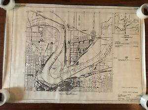 Vtg Kansas City Map Poster Us Army Corps Of Engineers Flood 1930 S Missouri