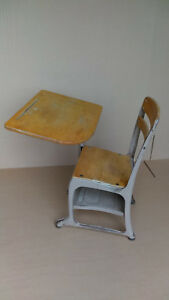 Vintage Antique Wood And Metal Child S School Student Desk With Chair Attached