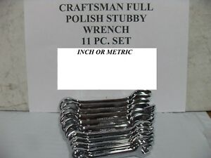 Craftsman 11pc Full Polish Stubby Wrench Set Sae 3 8 1 Or Metric