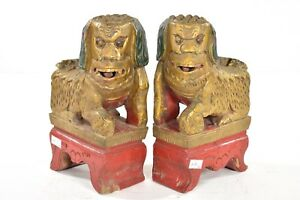 Pair Of Antique Chinese Red Gold Green Wooden Carved Statue Of Foo Dog Lion