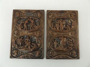 C1850 Pair Of Bronzed Relief Plaques By Mathieu Justin Bookbinding Bible French