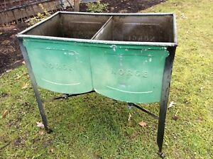 Vintage Norge Double Galvanized Wash Tubs On Wheels Very Good