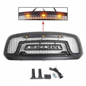 Front Black Rebel Style Hood Grille For 2013 2018 Dodge Ram 1500 Grill Usa Stock