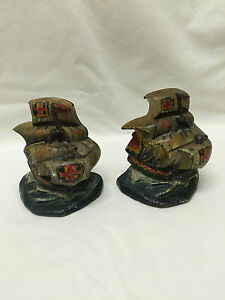 Vintage Arts And Crafts Era Painted Cast Iron Ship Bookends
