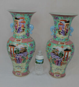 Fine Large Mirror Pair Chinese Famille Rose Porcelain Vases 19