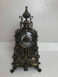French Dark Brass Architectural Mantel Clock 8 Day Movement Ca 1890 S Exc Cond