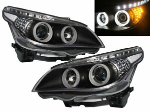 5 series E60 e61 03 07 Led Halo Projector Halogen Headlight Black V2 For Bmw Lhd