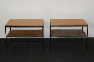 Vintage Paul Mccobb Wrought Iron Pair Of Tables Mid Century