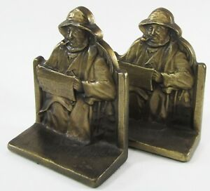 Vintage Metal Cape Cod Fisherman Bookends Connecticut Foundry Nautical 1928