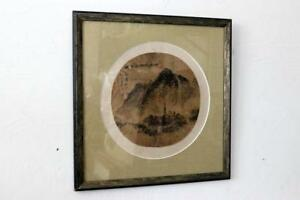 Antique Chinese Silk Round Painting Mountain Temple Landscape