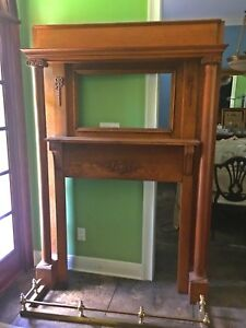 Antique Victorian Oak Mantle With Beveled Mirror 82 Inches Tall 54 Inches Wide