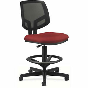 Volt Series Task Stool Mesh Back Adjustable Height Footring Crimson Armless