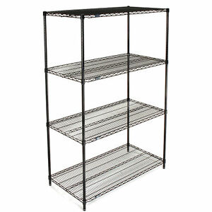 Nexel Wire Shelving Black Epoxy 42 w X 24 d X 63 h Lot Of 1