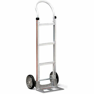 Magliner Aluminum Hand Truck 18 wx48 h Mold on Rubber Wheels Dual Handle