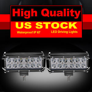 2x 7in 36w Dual Row Led Work Pod Light Bar Spot For Truck Suv Atv Snow Plow Boat