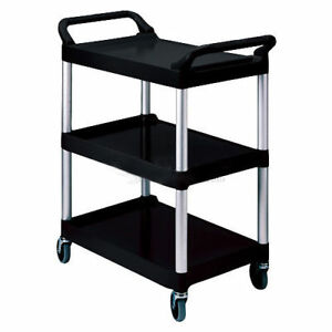 Rubbermaid 174 Three shelf Black Utility Cart Lot Of 1
