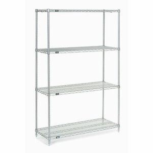 Chrome Wire Shelving 48 w X 14 d X 74 h Lot Of 1