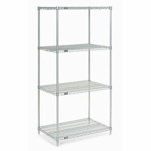 Chrome Wire Shelving 36 w X 14 d X 74 h Lot Of 1