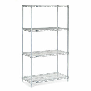 Chrome Wire Shelving 36 w X 14 d X 63 h Lot Of 1
