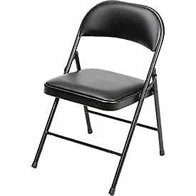 Steel Frame Folding Chair Padded Vinyl Seat And Back Black Lot Of 4