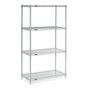 Nexelate Wire Shelving Starter Unit Silver Epoxy 36 w X 14 d X 63 h Lot Of 1