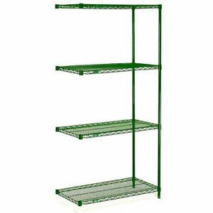 Nexel Wire Shelving Add on Green Epoxy 24 w X 18 d X 63 h Lot Of 1
