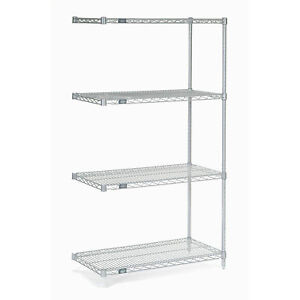 Chrome Wire Shelving Add on 36 w X 14 d X 63 h Lot Of 1