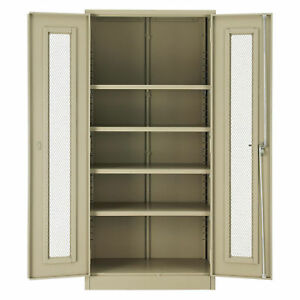 Unassembled Storage Cabinet With Expanded Metal Door 36x18x78 Tan Lot Of 1