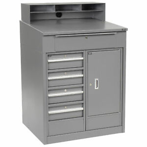 Shop Desk With 5 Drawers And Cabinet 34 1 2 w X 30 d X 51 1 2 h Gray Lot Of 1