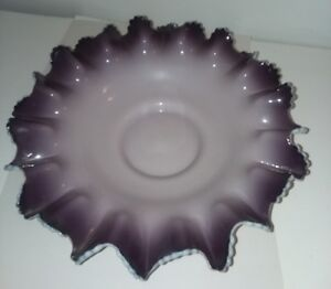 Victorian Antique Brides Bowl Basket Cased Purple White Glass Ruffled 12 Wide