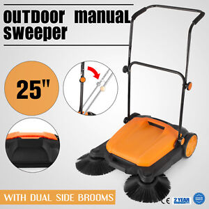 Manual Rt 650s Outdoor Push Sweeper 25 with Brooms Driveway Dust With Ease