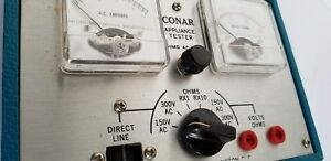 Vintage Blue Conar Appliance Tester Model 200 With Cords And Cables