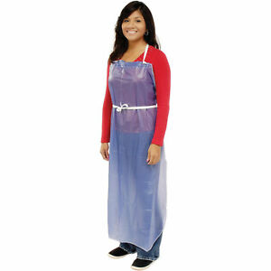 Sewn Edge Vinyl Apron Blue 35 X 45 6 Mil Lot Of 12