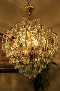 Antique Vintage French Spider Style Crystal Chandelier Light Lamp 1940 S 19 In