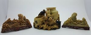 Set Of 3 Chinoiserie Highly Detailed Hand Carved Soap Stone Landscapes