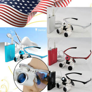 Medical Surgical Dental Loupes Binocular Magnifying Glass Led Head Light Lamp Us