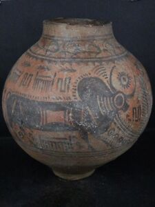 Ancient Huge Size Teracotta Painted Pot With Bulls Indus Valley 2500 Bc Ik451