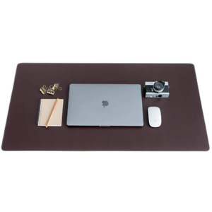 Zs Brown Leather Smooth Desk Mat Pad Blotter Protector Extended